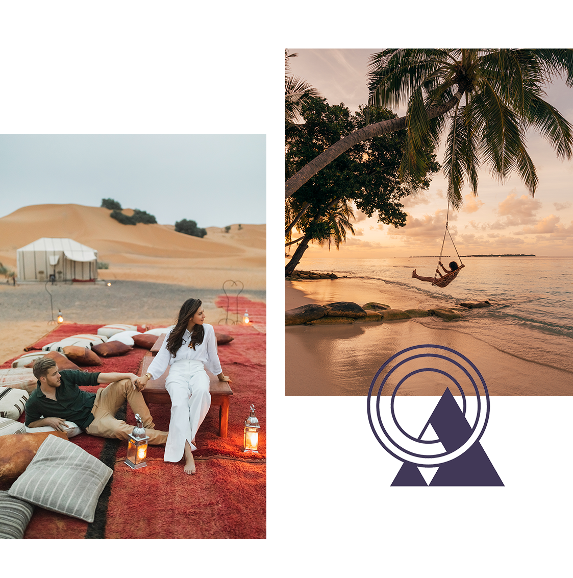 A couple at a luxury saharan resort and a woman on a beach swing at sunset.
