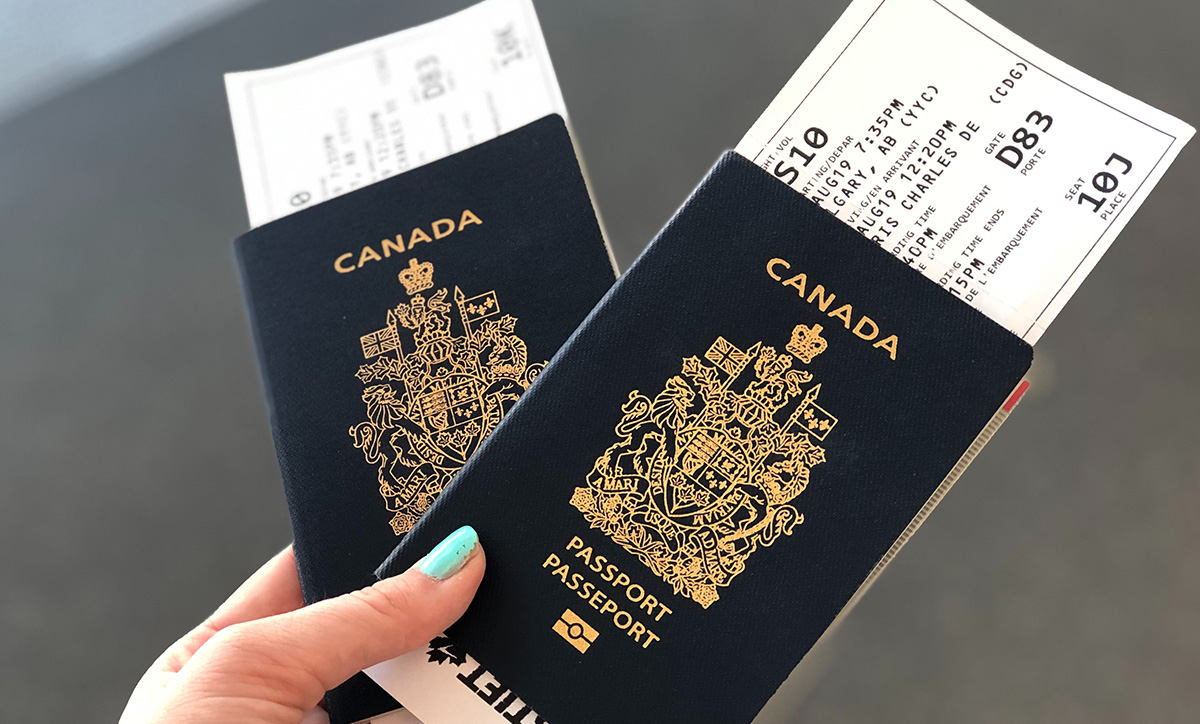 Canadian Passports with Boarding Tickets.
